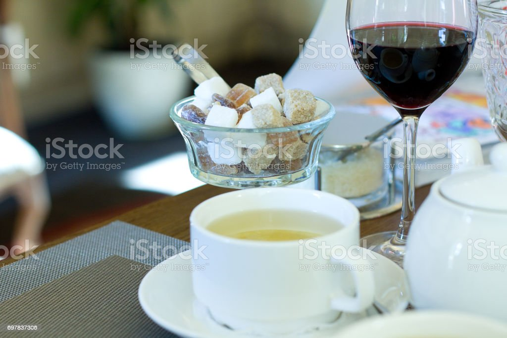 Table set with dishware  in restaurant stock photo