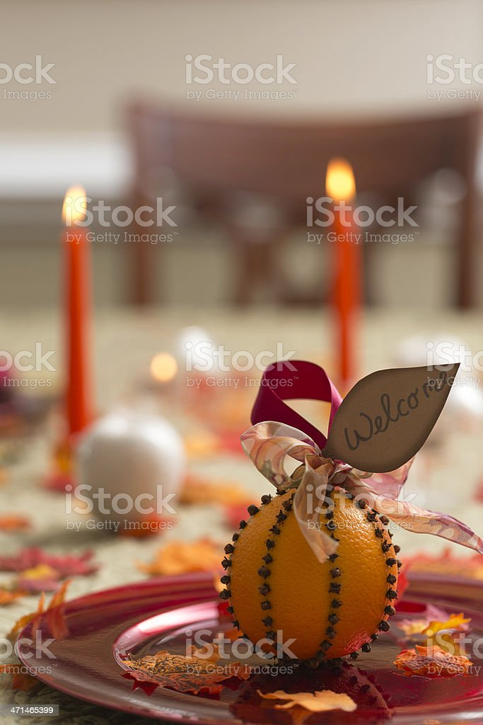 Table set with fall decor stock photo