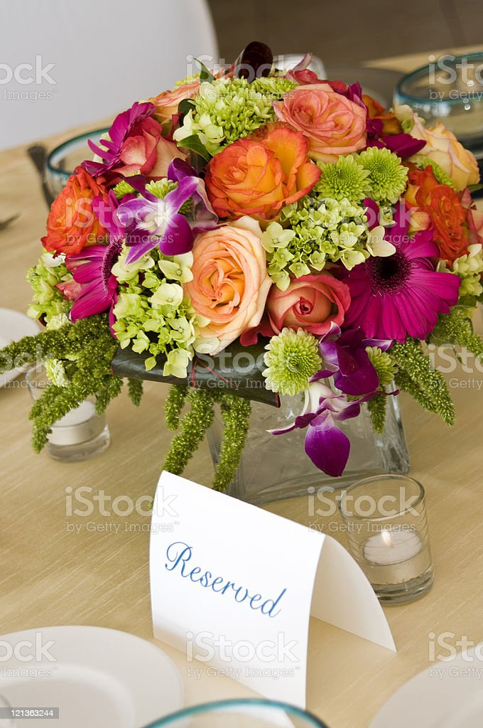 Table setting and flowers. royalty-free stock photo