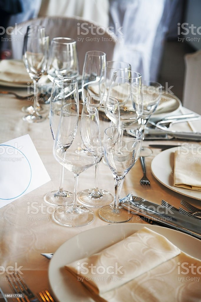 Table setting at a restaurant. royalty-free stock photo