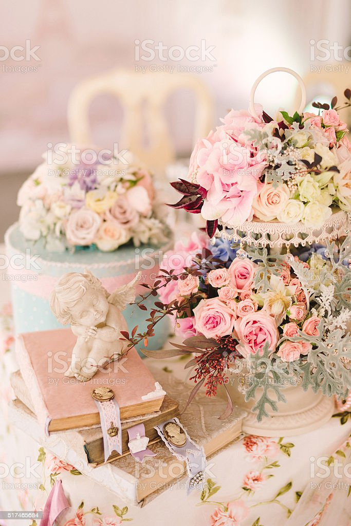 table setting at country wedding reception stock photo