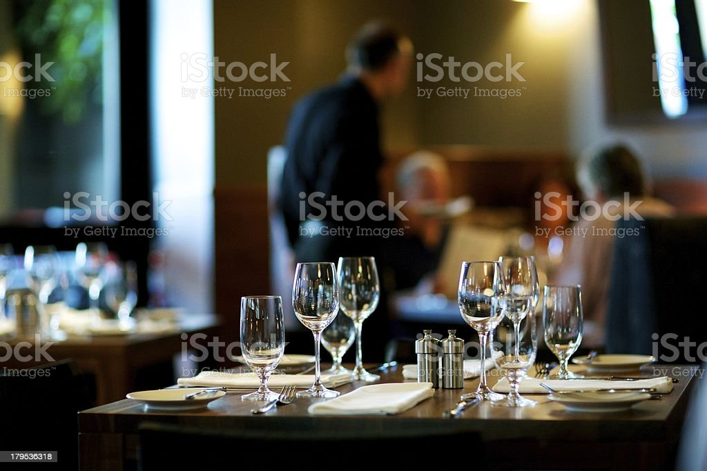 Table Setting at Restaurant stock photo