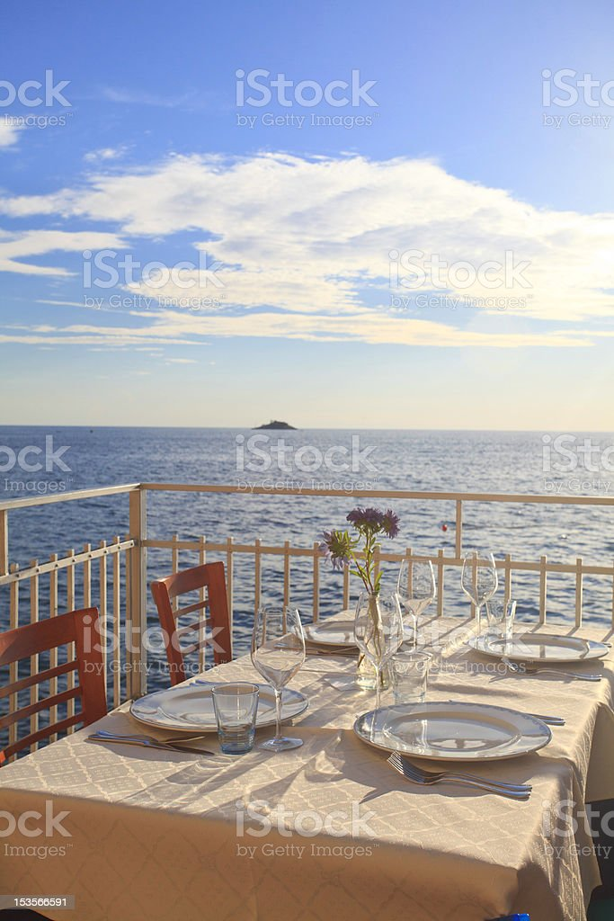 table setting by the sea royalty-free stock photo