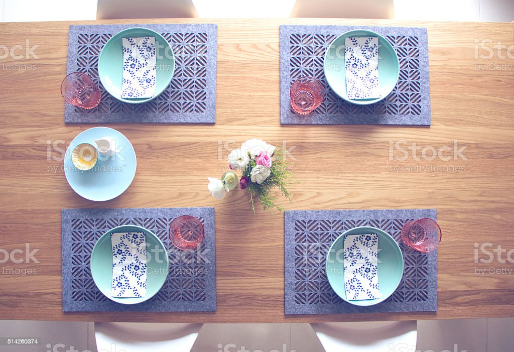 table setting colourful Scandinavian style stock photo
