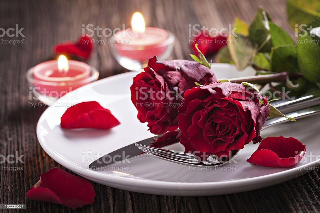 Table setting for valentines day stock photo