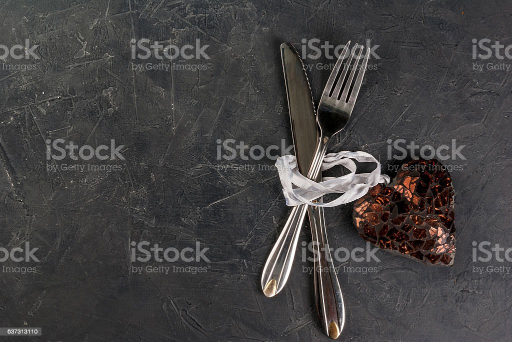 Table setting for Valentine's Day stock photo