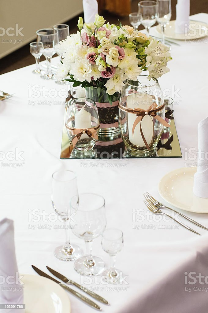Table setting for wedding dinner royalty-free stock photo