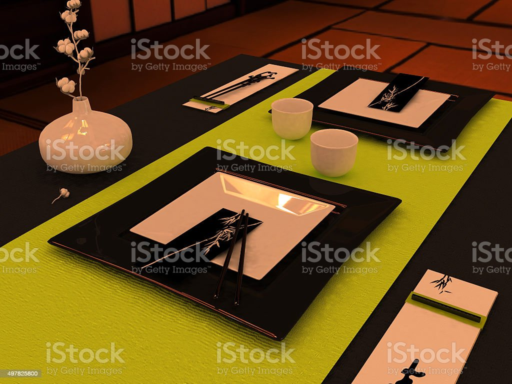 Table setting in Japanese style stock photo