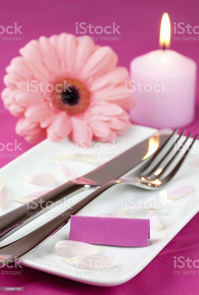 table setting in pink royalty-free stock photo