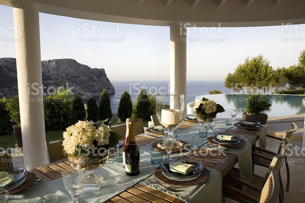 Table Setting - Luxury Outdoor Catering Pool Side royalty-free stock photo