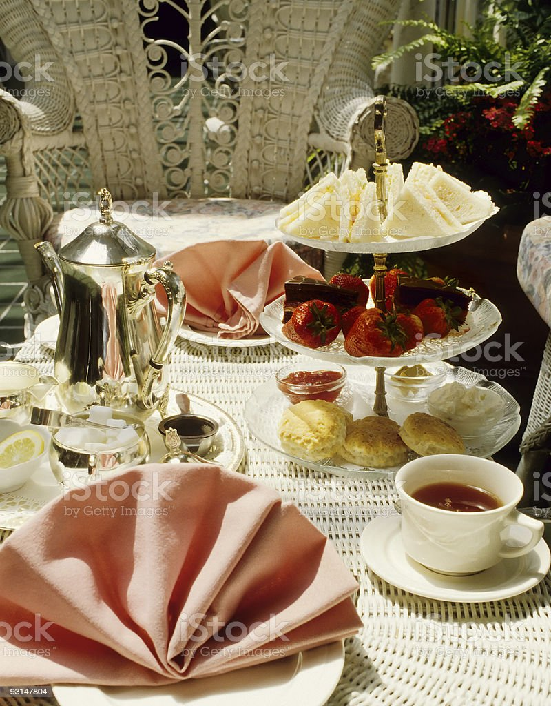 Table setting of tea for two people royalty-free stock photo