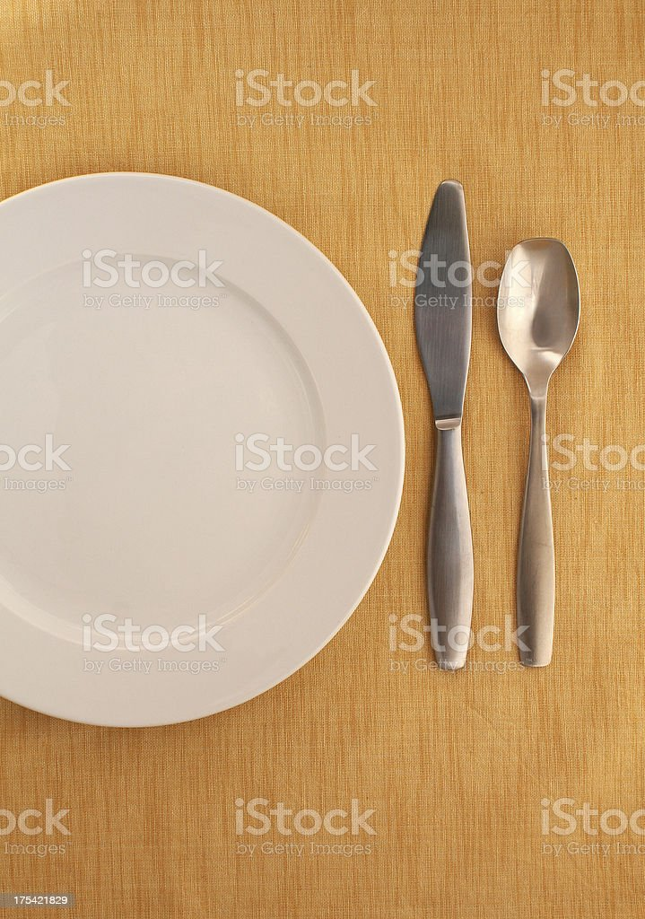 Table Setting on Yellow royalty-free stock photo