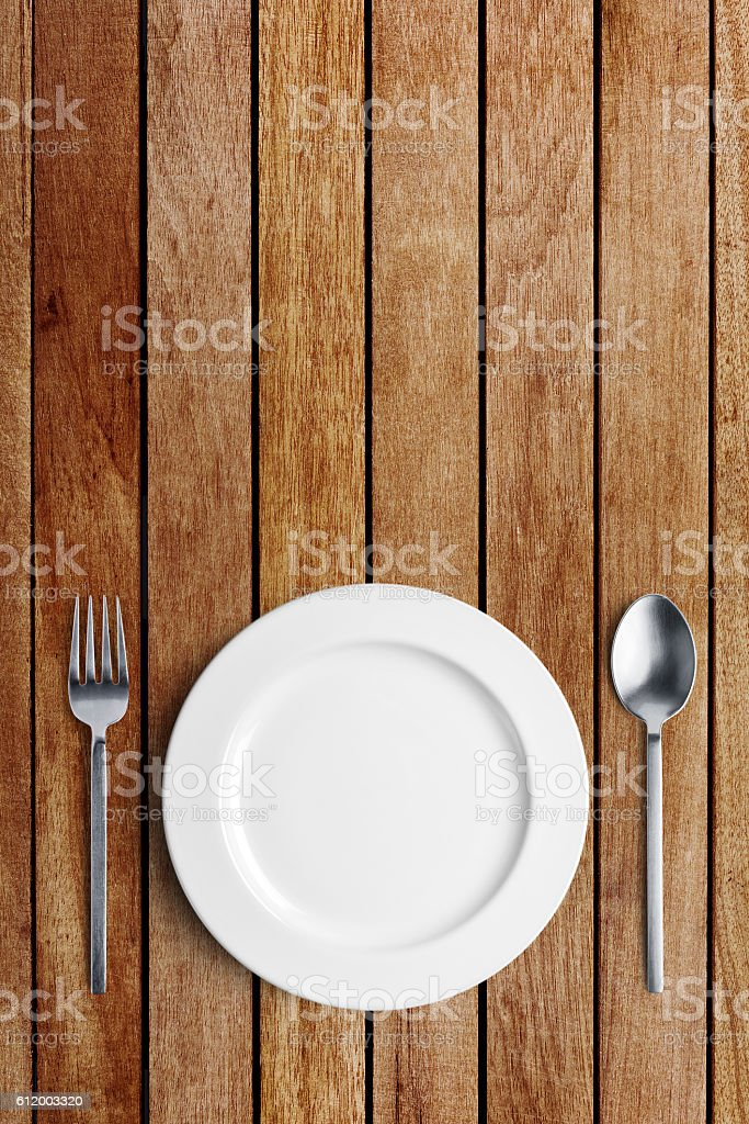 Table setting, spoon and fork with clipping path stock photo