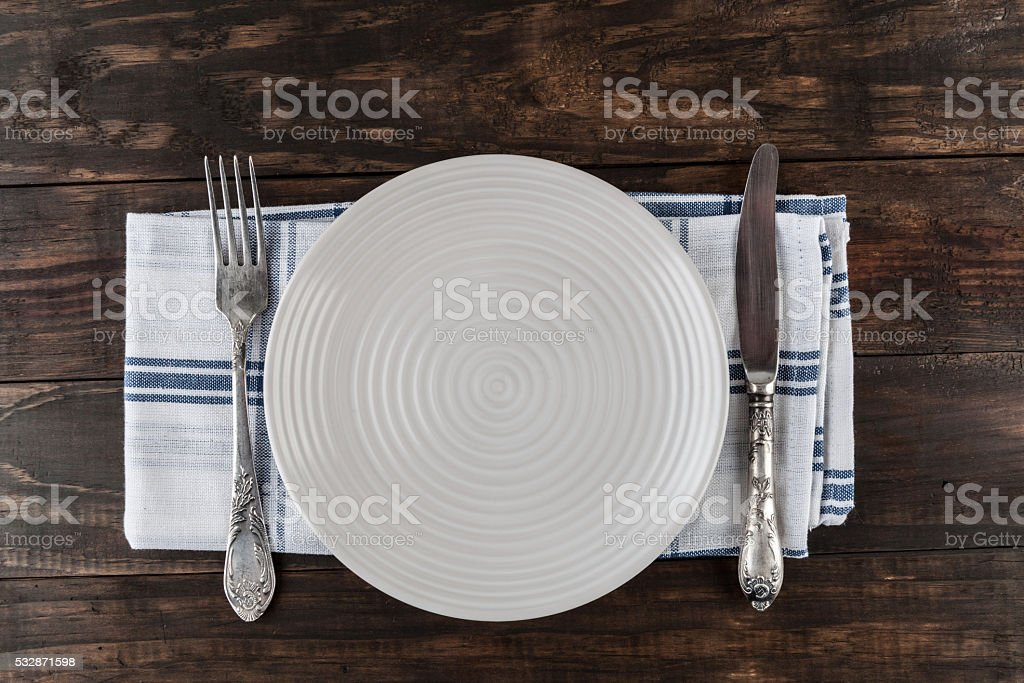 Table setting top view with copy space. stock photo