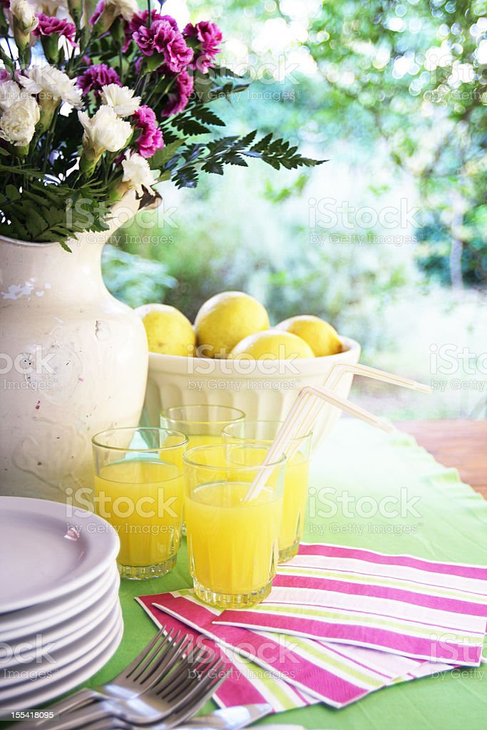 Table setting with lemonade, pink and green deco at garden stock photo