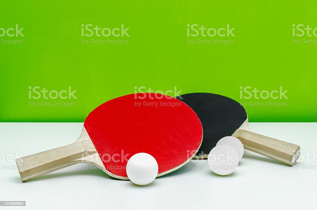 Table tenis rackets with balls stock photo