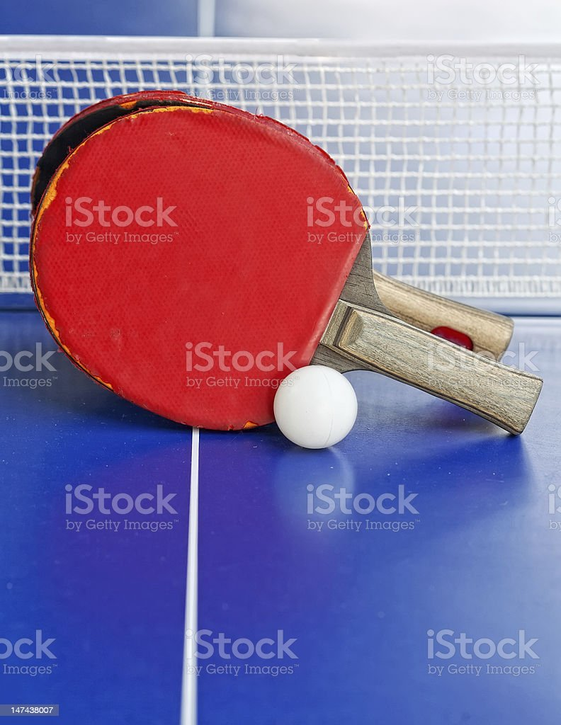 table tennis or ping pong rackets and balls stock photo