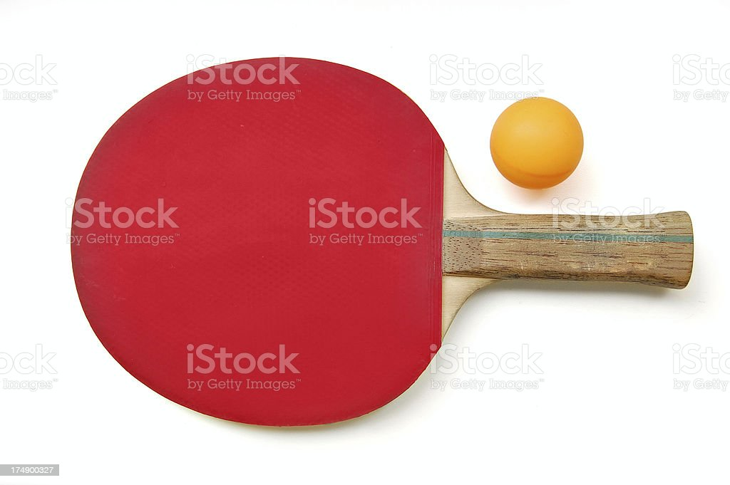 table tennis paddle & ball stock photo