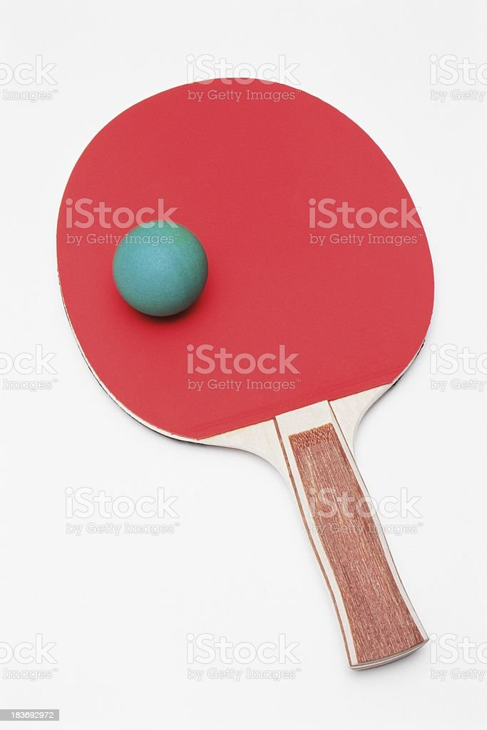 Table tennis paddle with ball royalty-free stock photo