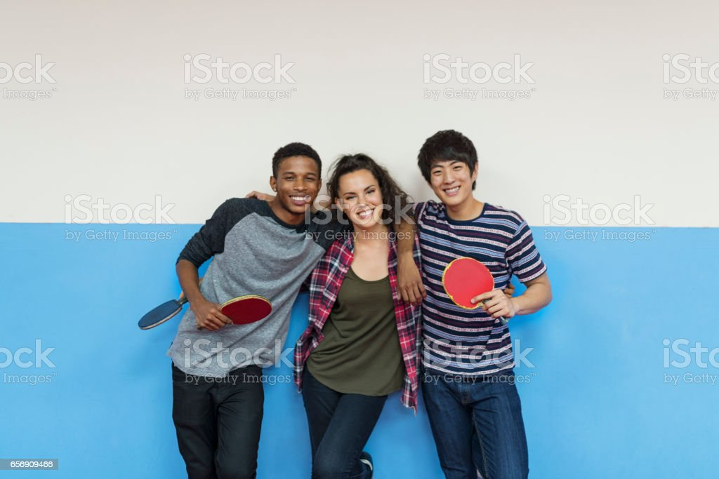 Table Tennis Ping-Pong Friends Sport Concept stock photo