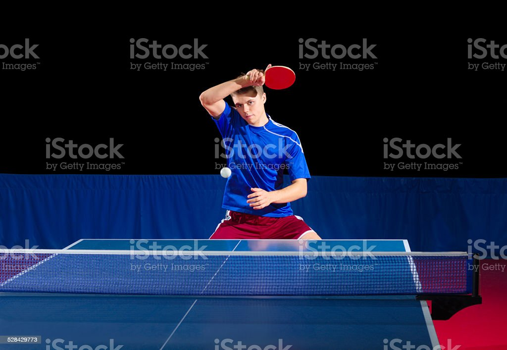 Table tennis player isolated stock photo