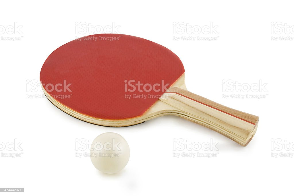 table tennis racket and ball isolated on white background royalty-free stock photo