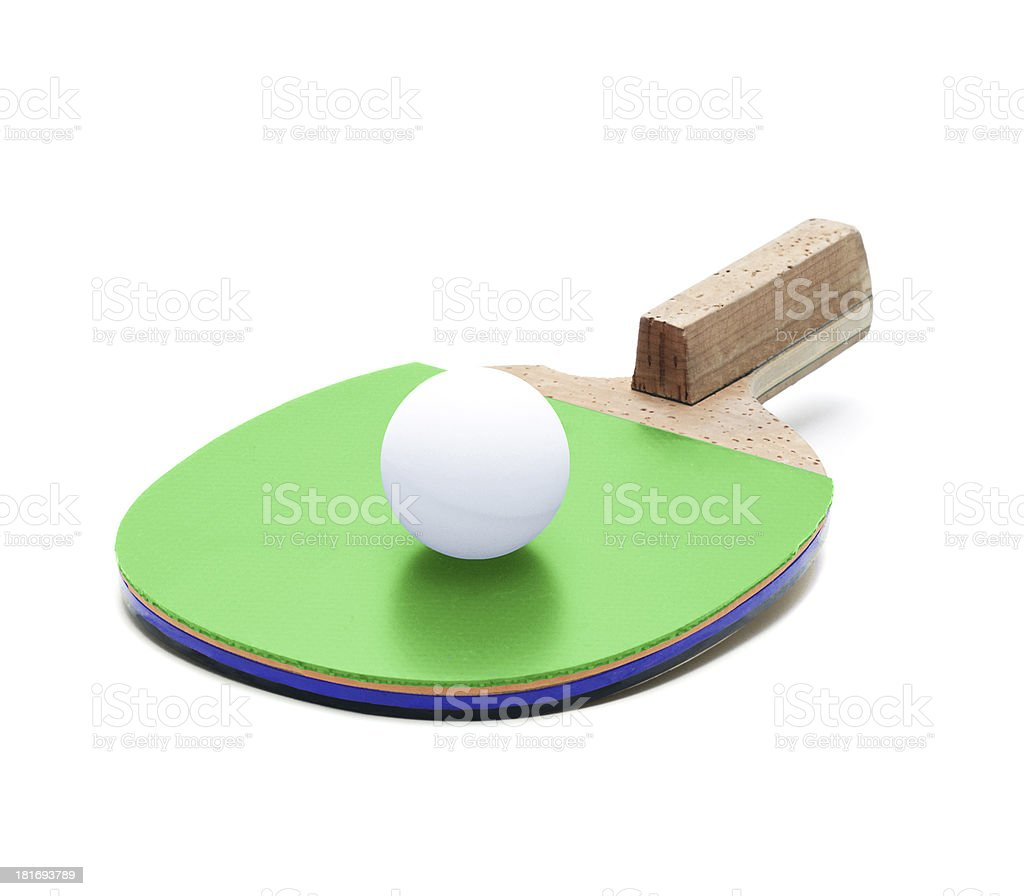 Table tennis racket and ball isolated royalty-free stock photo