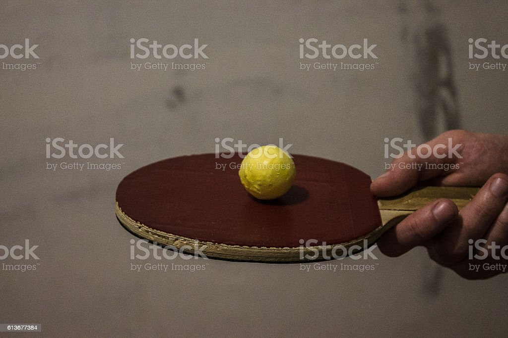 Table tennis racket and ball stock photo