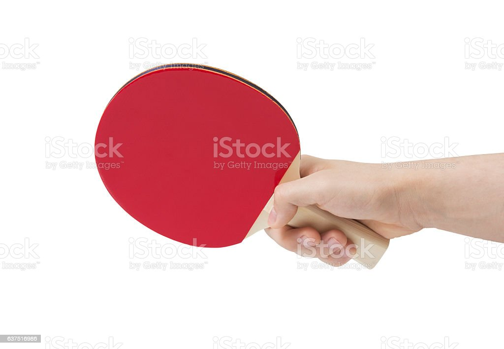Table tennis racket in hand stock photo