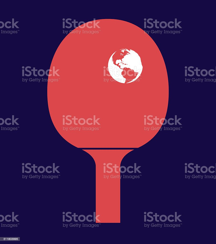 Table tennis racket with the Earth as a ball stock photo