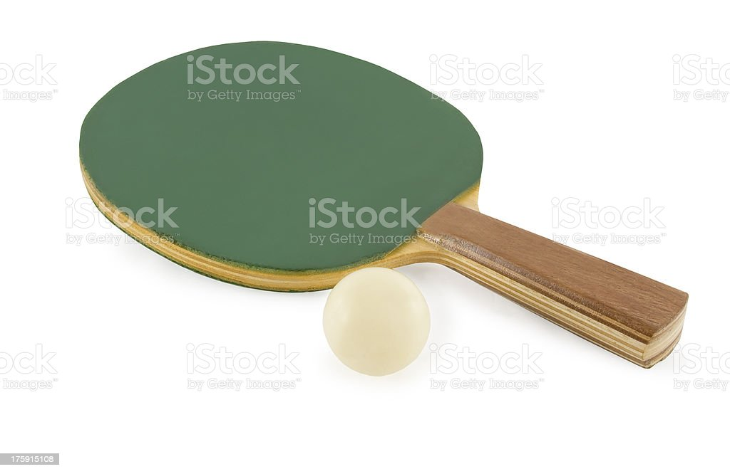 Table tennis rackets and ball isolated on white background royalty-free stock photo