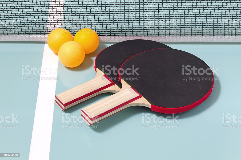 Table tennis rackets and balls royalty-free stock photo