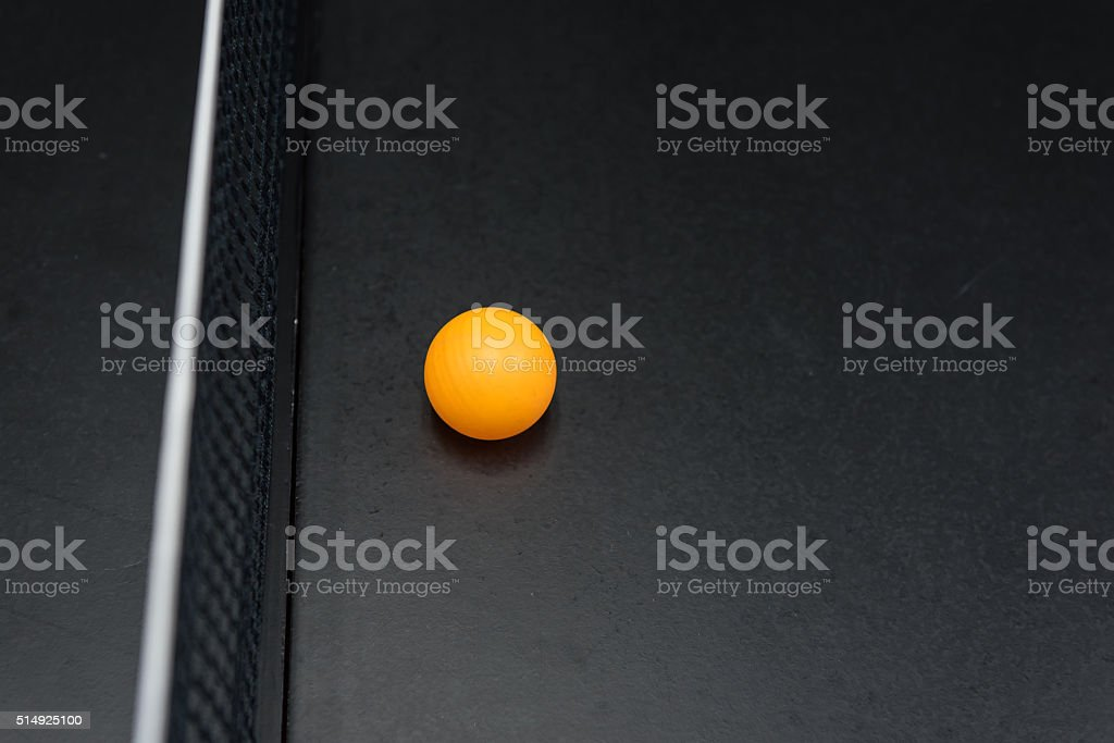 table tennis's ball on black table stock photo