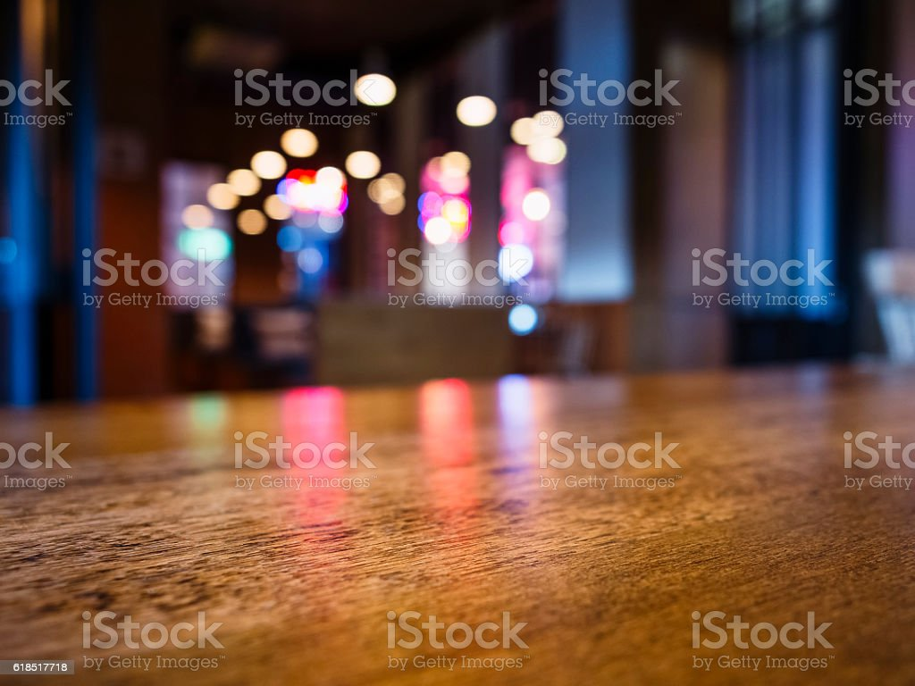 Table top Bar Blurred colourful lighting background Party event stock photo