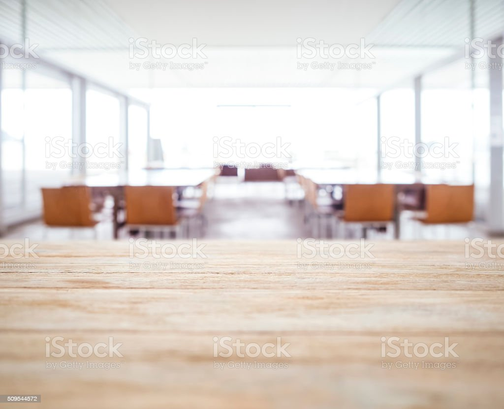Table top Blurred Office space Meeting Seminar room with seats stock photo