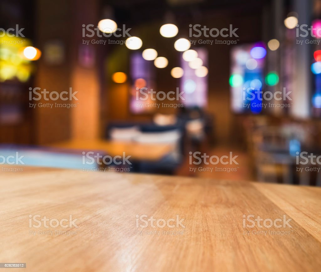 table top colourful light blurred bar seats restaurant cafe