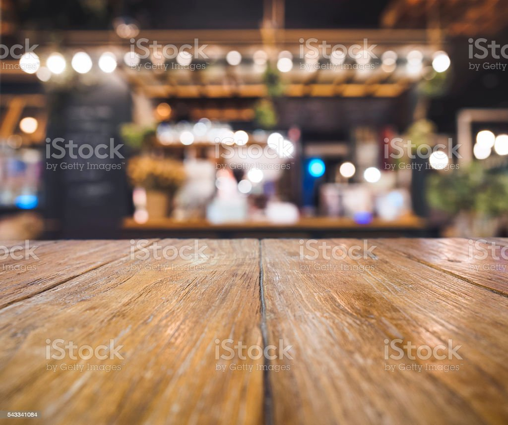 Table top counter Bar Cafe Restaurant blurred background stock photo
