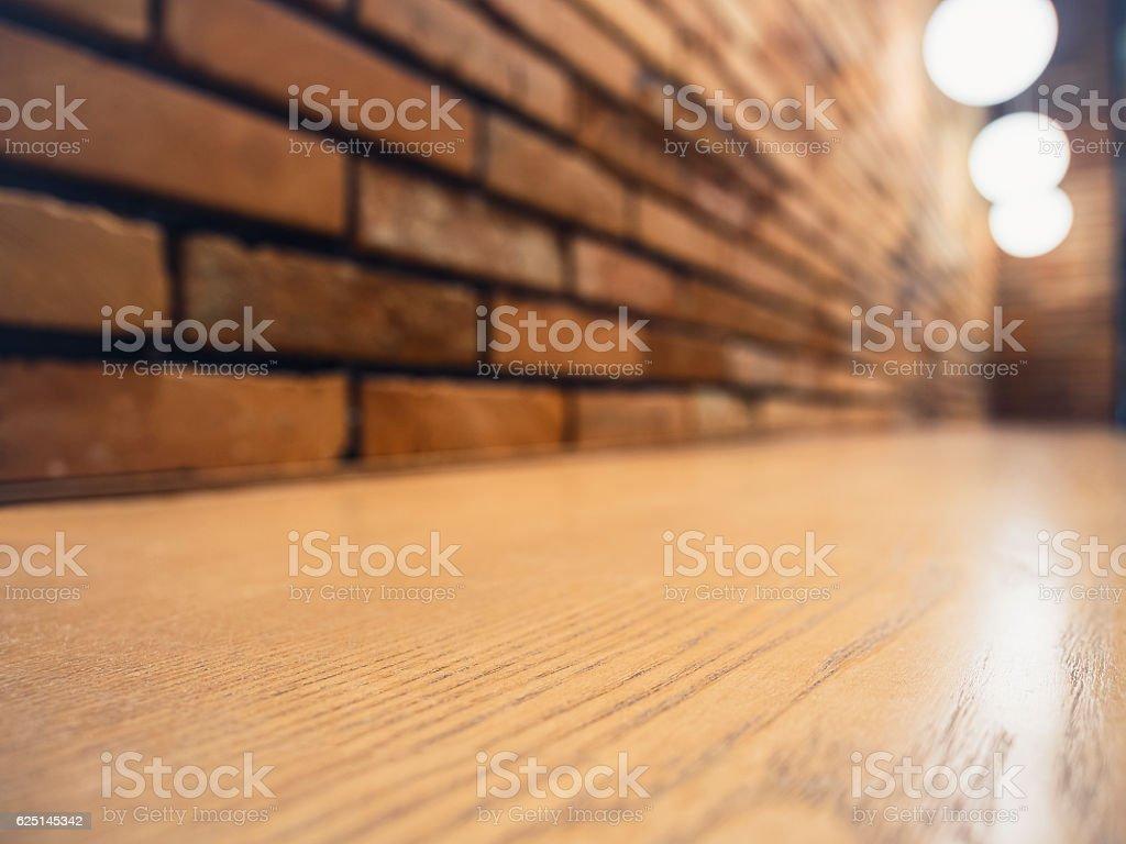 Table top Counter Bar Lights decoration Restaurant Brick wall stock photo