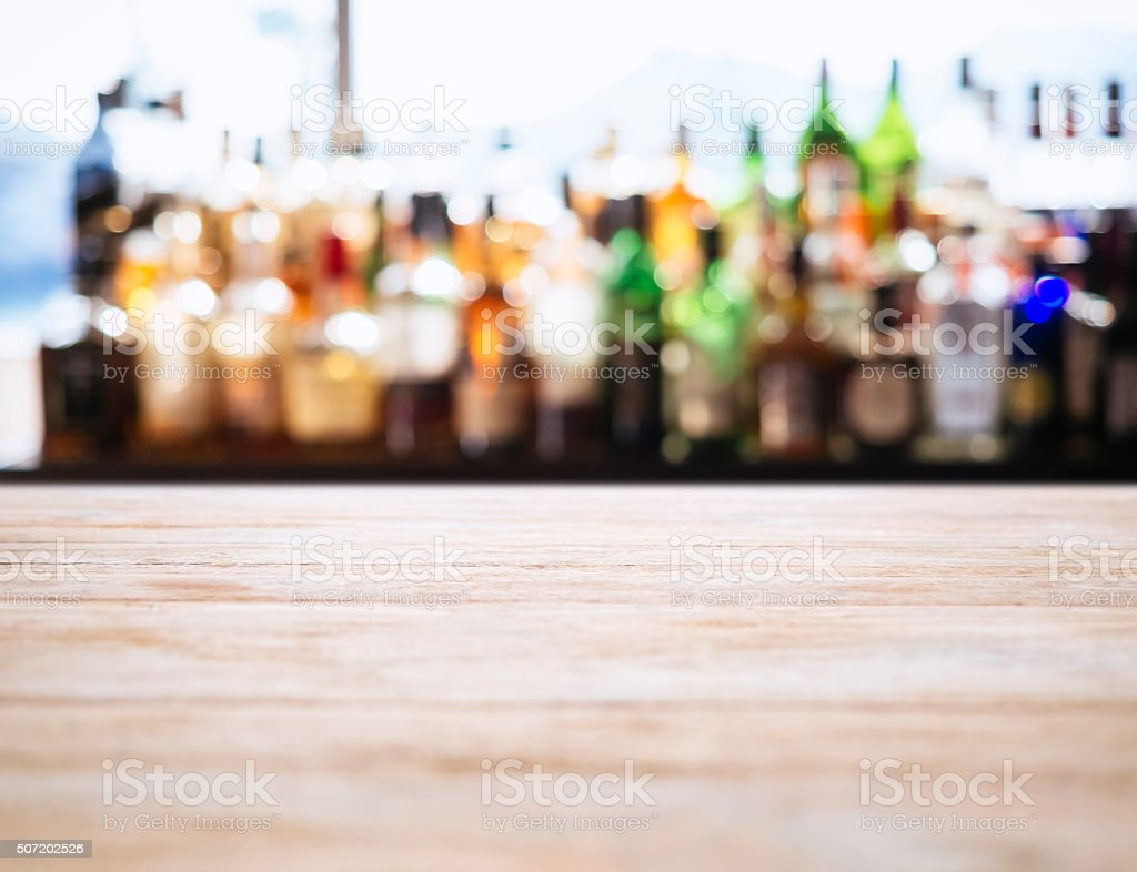 Table top counter Blurred Bar Restaurant background stock photo