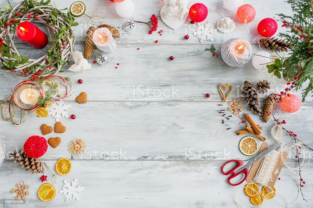 Table top for Christmas present preparation stock photo