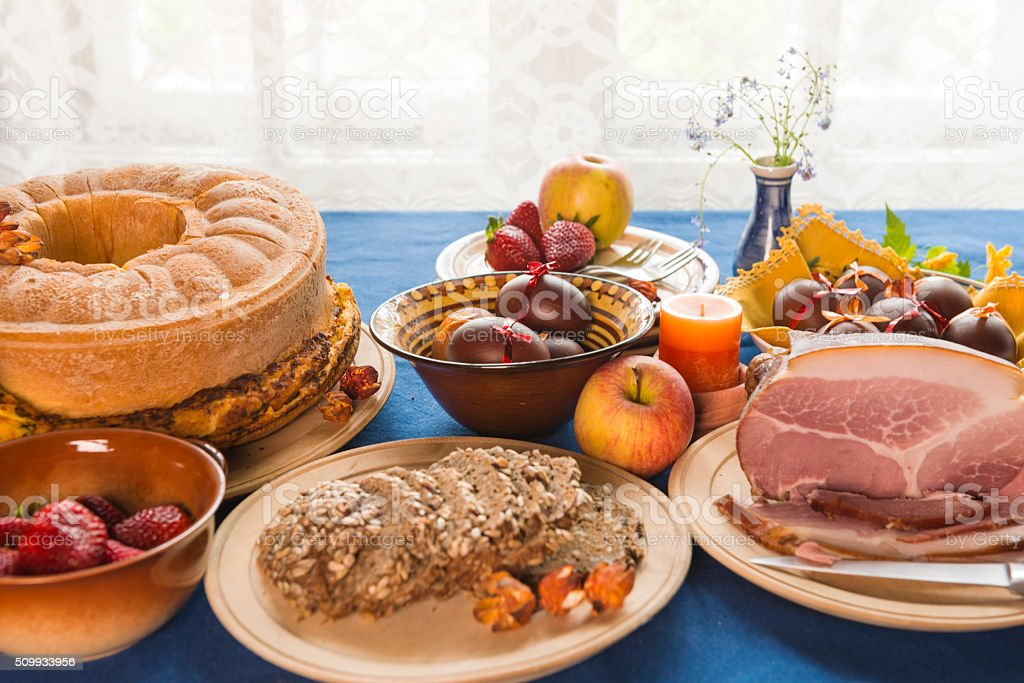 Table top for Easter holidays stock photo