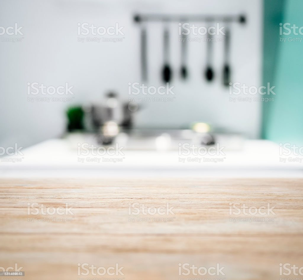 Kitchen Counter Background Table Top With Blurred Kitchen Counter Home Interior Background