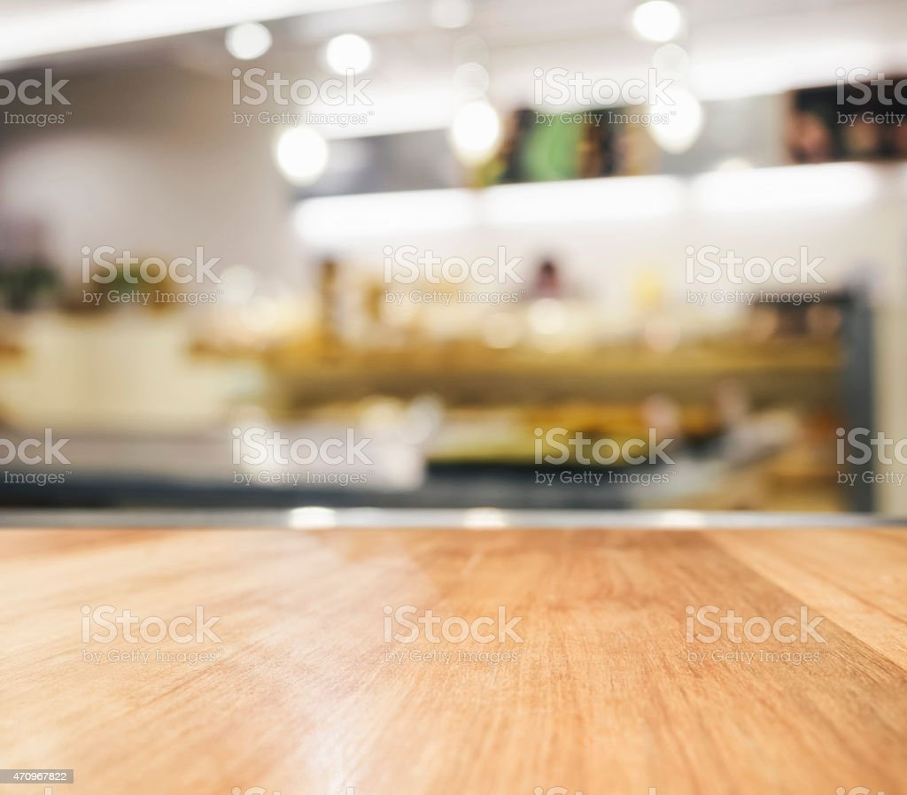 Table top with Blurred kitchen Interior Background stock photo
