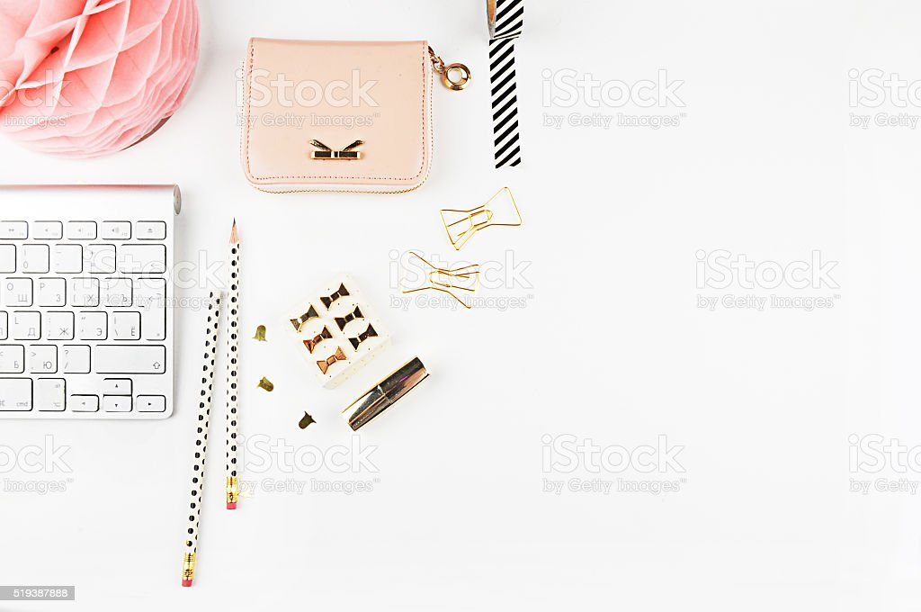 Table view office items, white background mock up. stock photo