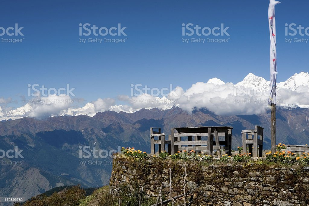 Table with a perfect view of mountains, Nepal stock photo
