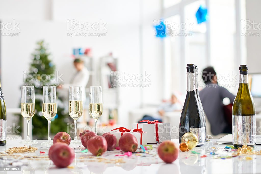 Table with alcoholic drinks and fruits stock photo