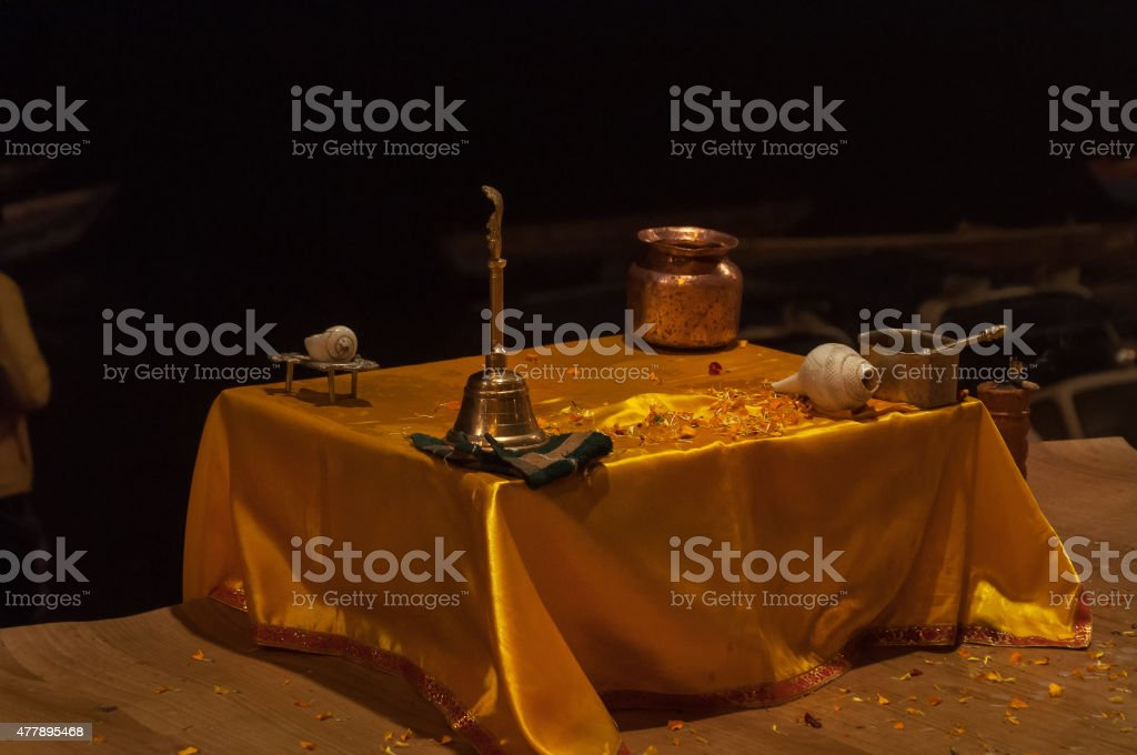 Table with attributes for Ganga Aarti ceremony stock photo