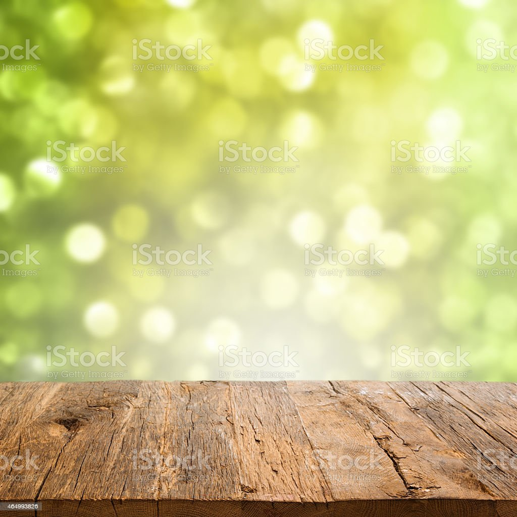 Table with bokeh background stock photo