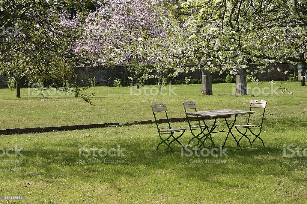 Table with chairs stock photo