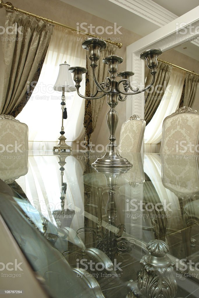 table with chandelier on it royalty-free stock photo